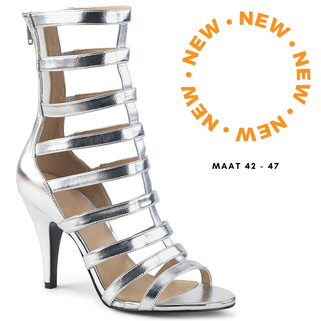 2428-98-001 - gladiator sandaal met comfortabele hak in zilver