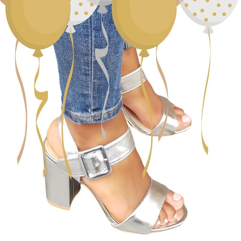 2725-98-006 - zilveren blokhak sandalen voor feest of gala