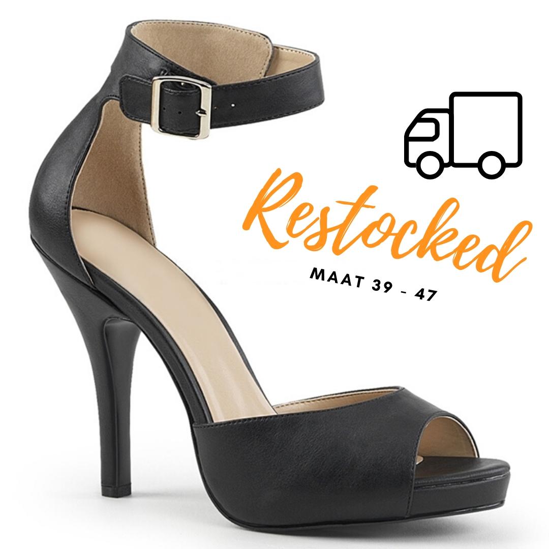 2778-10-086 - zwarte comfortabele sandaal in grote maten