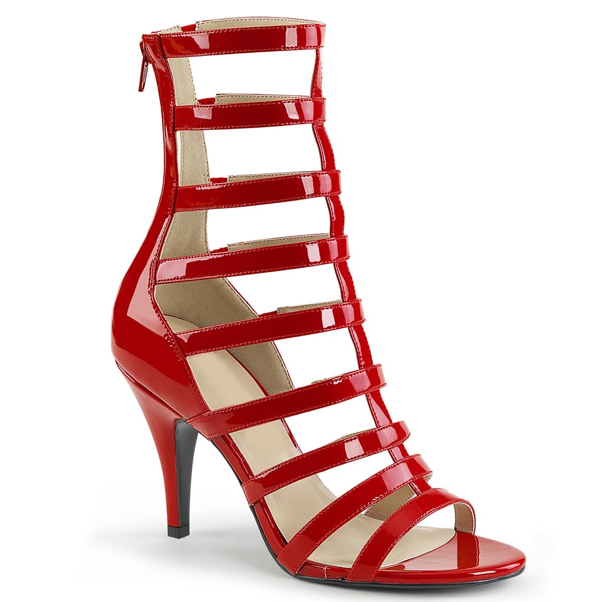 Rood lak Gladiator laars voor brede voet | Silhouette