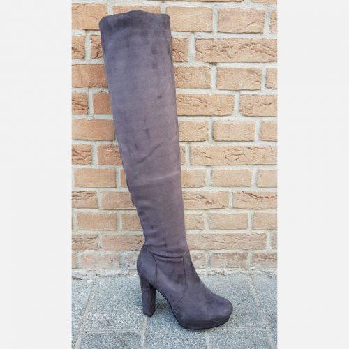 Donkergrijze overknee laarzen met blokhak en ronde neus