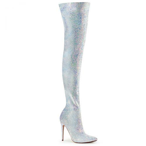 Wit / Zilveren glitterlaarzen met hoge hakken | Glitterlaarzen voor drag | Glitterlaarzen grote maten