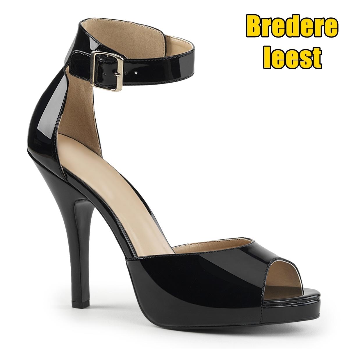 Zwarte sandalen met naaldhak voor grote brede voeten