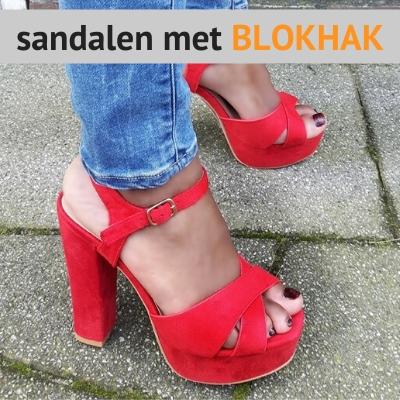 Sandalen met blokhak
