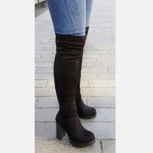 Zwarte overknee laarzen met profielzool | Stretch overknees dikke kuiten | Overkneelaarzen stretch voor dunne kuiten