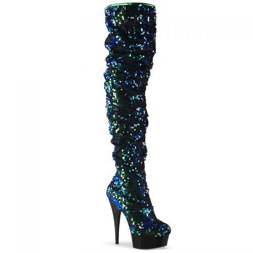 Drag Queen laars met plateau en pailletten | Overknee laarzen met pailletten