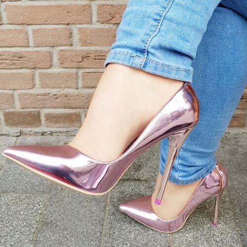 Roze pumps met hoge hak | Metallic pumps roze lila met hoge hakken
