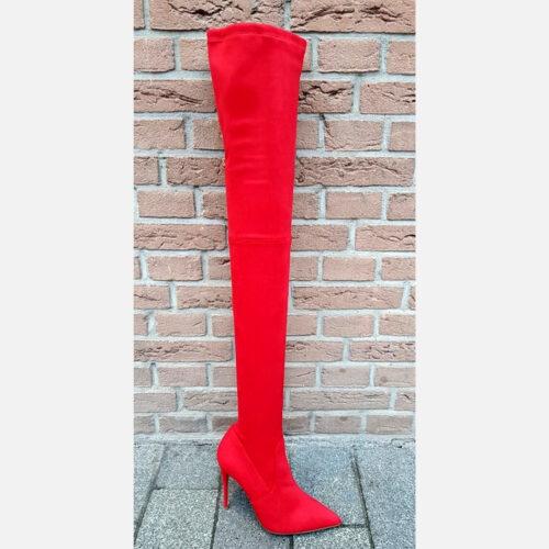 Rode overknee laarzen met hak extra lang | Rode stretch laarzen met hak