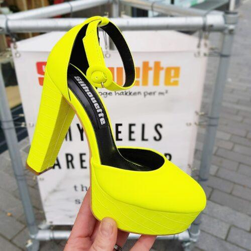 Neon gele pumps met blokhak en plateau | Fel gele pumps met brede hak