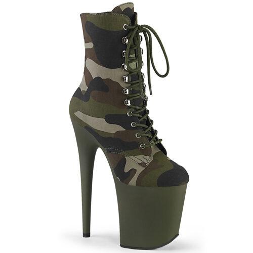 Enkellaars met hoge naaldhak camouflage print | Pleaser enkellaars army green camo