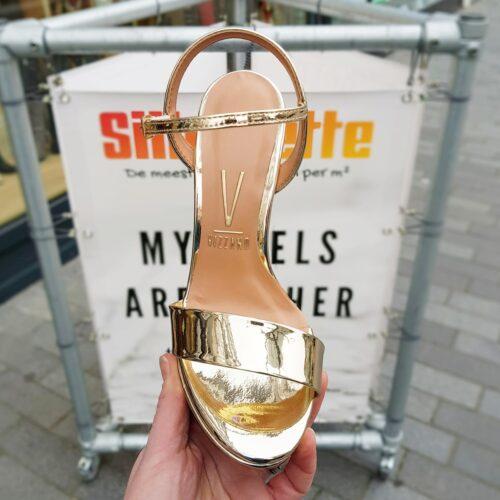 Gouden sandalen met hak | Hoge hakken in goud met open teen