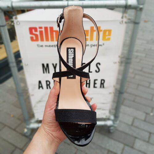 Zwarte glitter hakken met kruisbanden over de voet | Glitterhakken zwart met blokhak