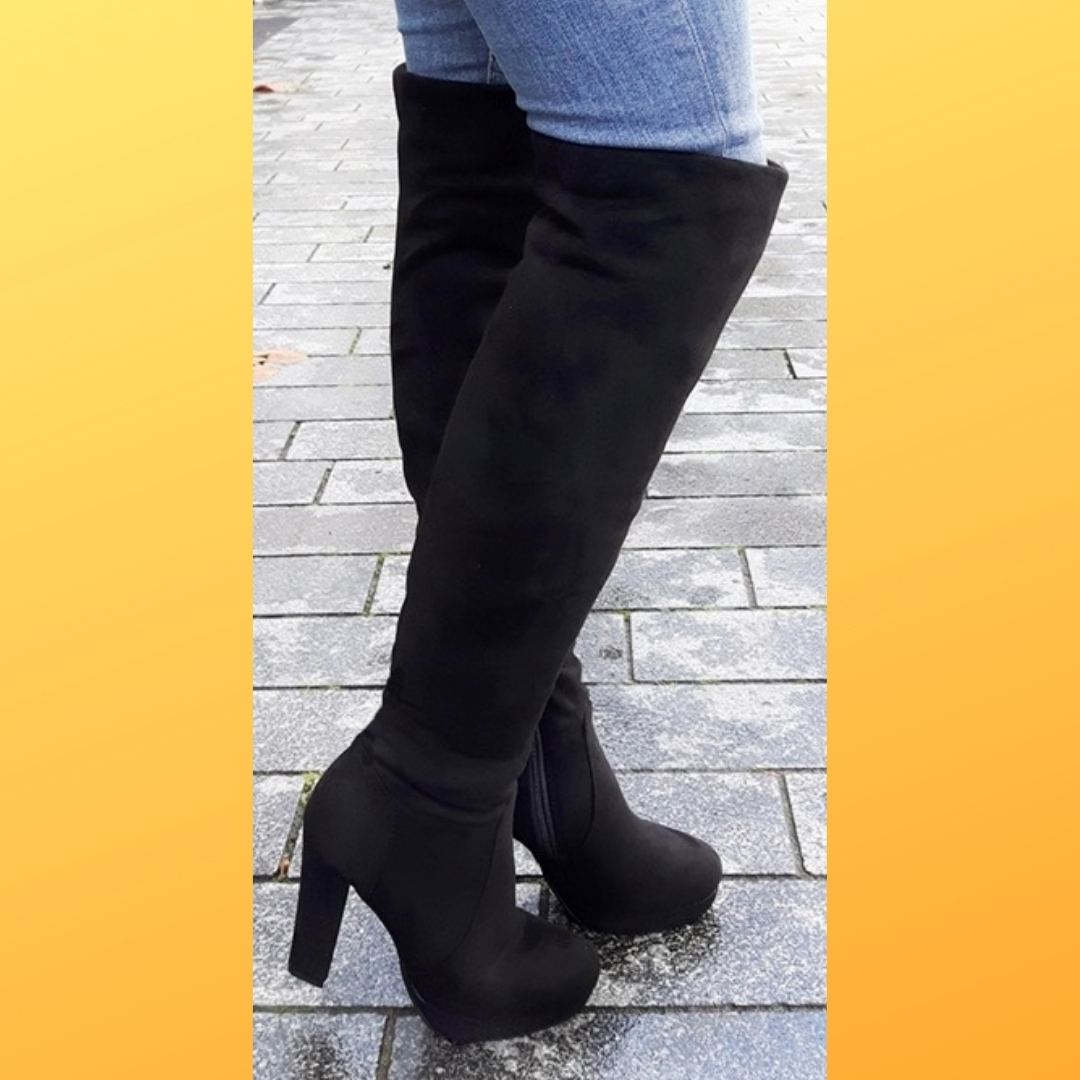 Stretch overknee laarzen voor dikke kuiten en dunne benen (2)