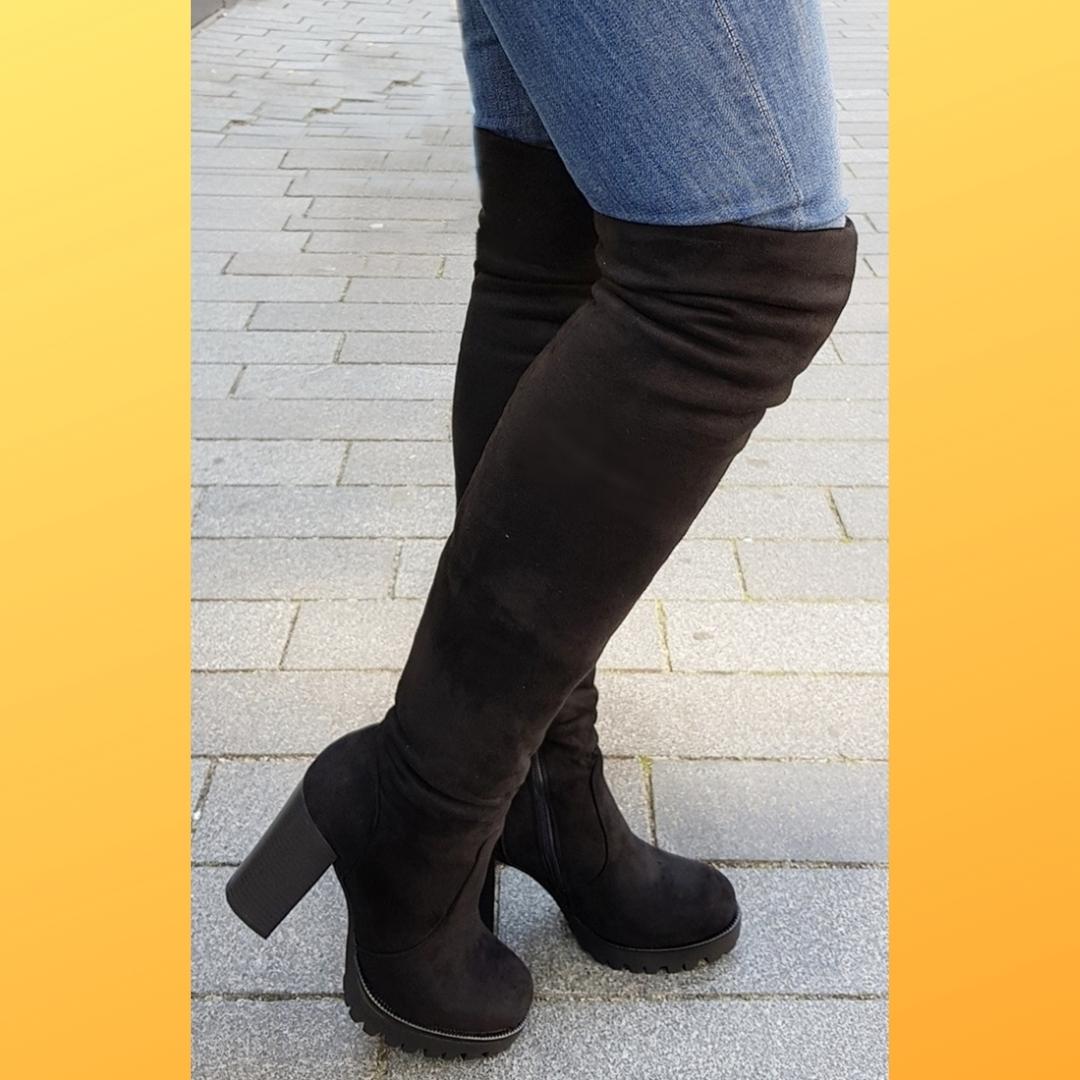 Stretch overknee laarzen voor dikke kuiten en dunne benen (4)