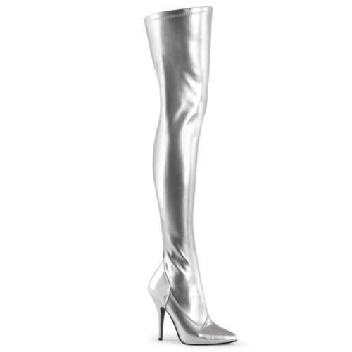 Zilveren overknee laarzen met hoge hak in stretch materiaal | Overkneelaarzen met hak in zilver