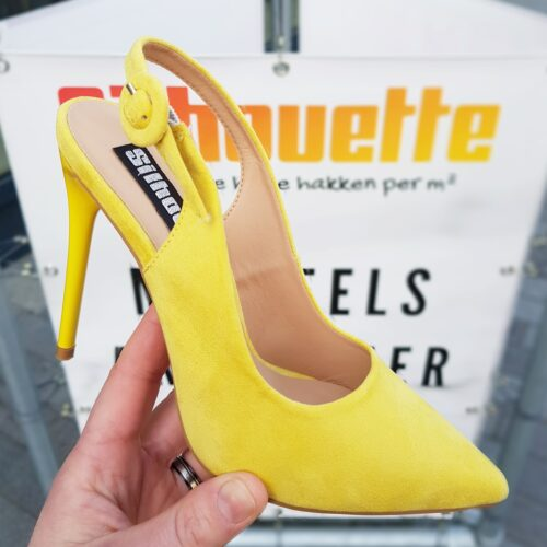 Gele pumps met open hiel en hoge hak | Gele slingback pumps met naaldhak