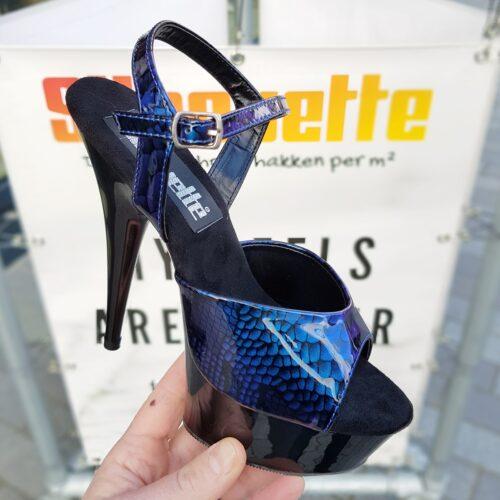 Blauwe Pleaser hakken met snakeprint Blauw zwarte hoge hakken met reptielprint