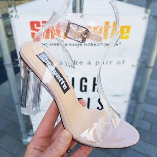 Doorzichtige blokhakken met nudekleurige details | Doorzichtige sandalen met blokhak