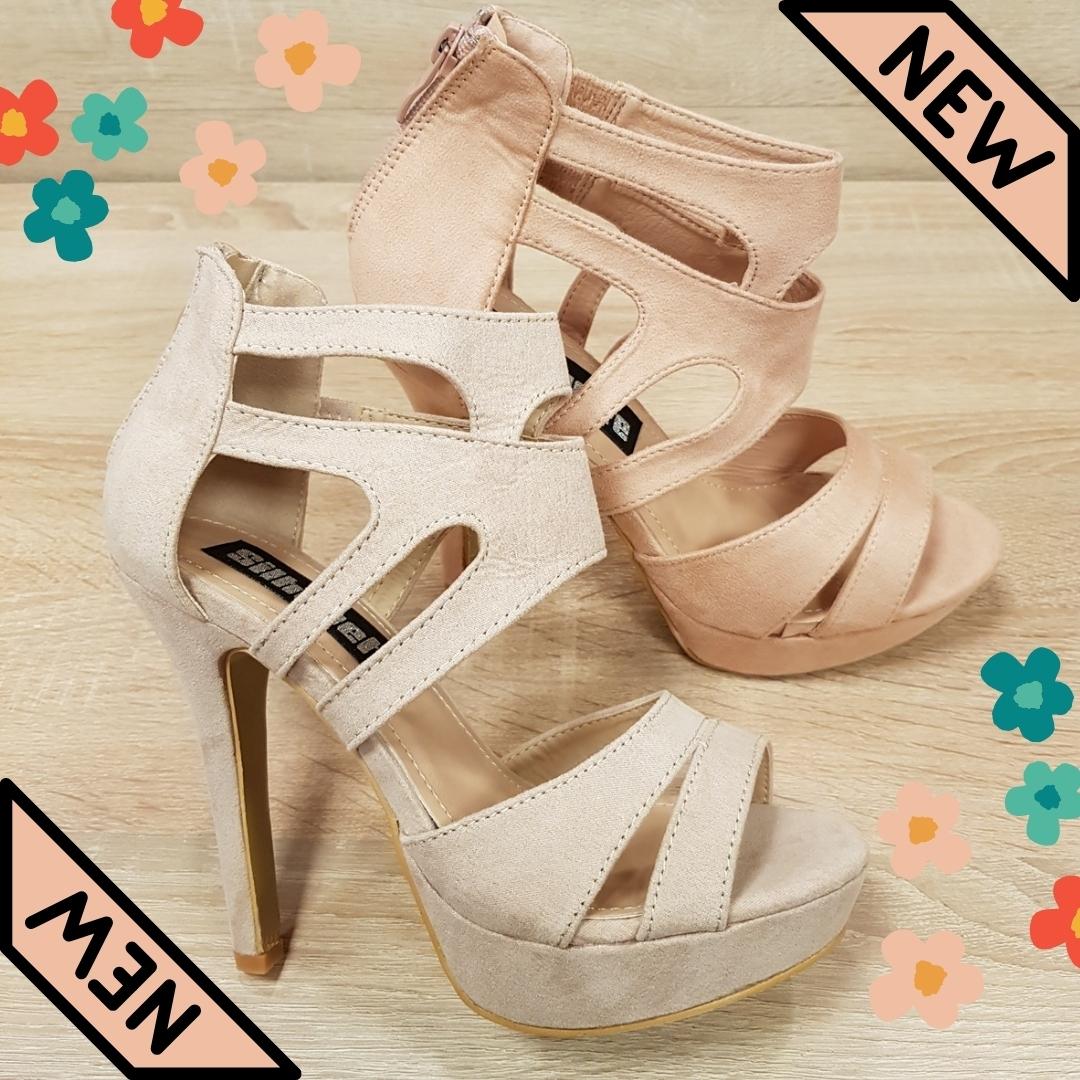 Beige en licht roze hekwerk sandalen met naaldhak