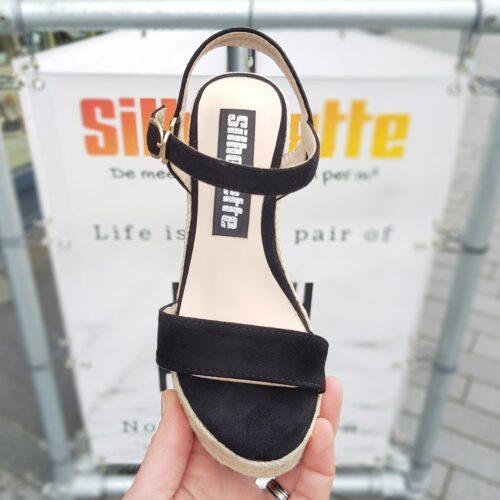 Sleehak sandalen in kleine maten met kurkzool Zwarte sleehakken in kleine schoenmaat