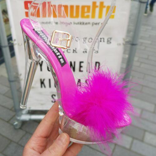 Fuchsia roze fluffy hakken | Fuchsia pluchen sandalen met hoge hakken