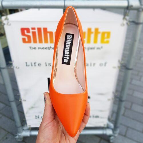 Oranje pumps met hak en spitse neus | Oranje hoge hakken met puntneus