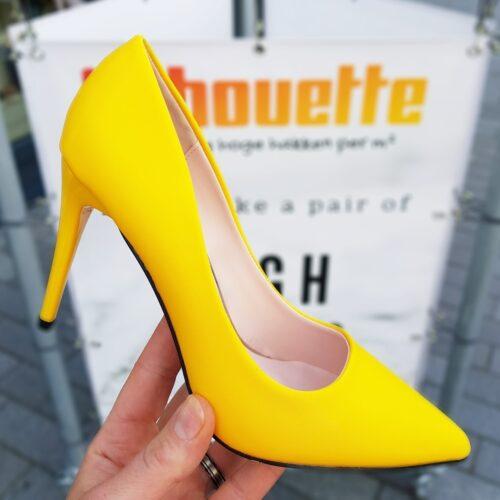Gele pumps met hak en spitse neus | Gele hoge hakken met puntneus