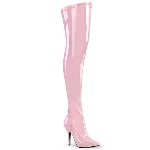 Babypink overknee laarzen met naaldhak | Licht roze overknee laarzen met hak