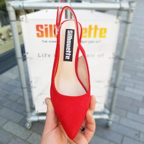 Rode slingback pumps met blokhak | Pumps met open hiel in rood suede look met brede hak