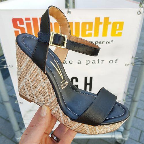 Zwarte sleehak in Ibiza style Vizzano | Zwarte comfortabele sleehakken met zacht voetbed