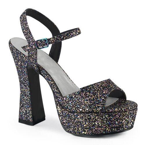 Zwarte glitterhakken met plateau in grote maten | Zwarte glitter sandalen met hak voor grote voeten