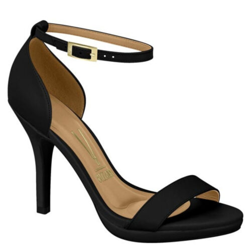 Zwarte comfortabele sandaal met naaldhak en mini plateau | Zwarte Vizzano-sandaaltjes met naaldhak en plateautje