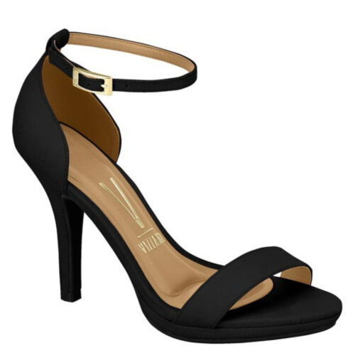 Comfortabele sandaal met naaldhak in zwart suede look | Zwart eco suede Vizzano-sandaaltjes met naaldhak en plateautje