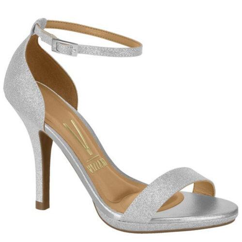 Sandaaltjes met hak en enkelbandje in zilver glitter | Zilveren Vizzano-sandaaltjes met naaldhak