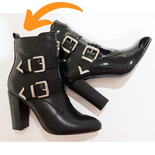 Zwarte korte laarzen met hak en gespen | Enkellaarsjes met gespen in zwart met blokhak