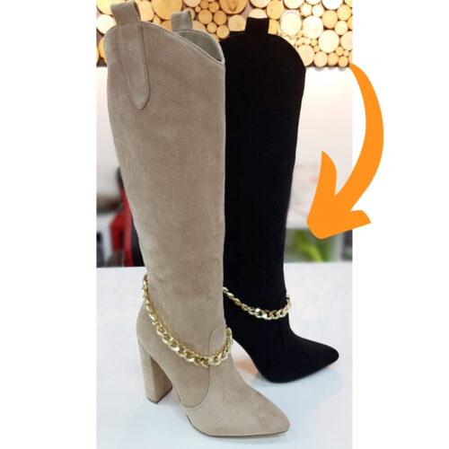 Laarzen met gouden ketting en blokhak zwart | Hoge laarzen met puntneus en gouden ketting