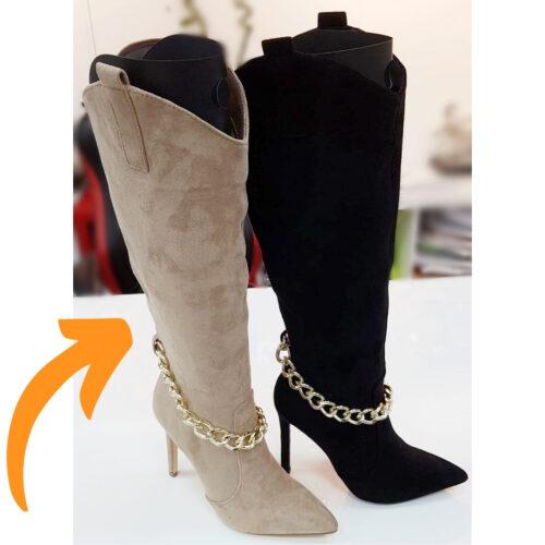Laarzen met gouden ketting en naaldhak beige | Hoge beige laarzen met puntneus en goudkleurige ketting