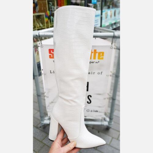Witte laarzen met hak en krokoprint | Witte hoge laarzen met kroko print en blokhak