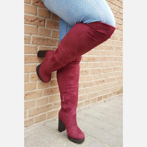 Bordeaux rode laarzen met hak overknee | Bordeaux rode overkneelaarzen met ronde neus