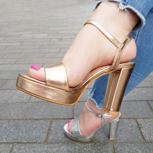 Feestelijke zilveren sandalen | Feestelijke sandalen Rose Gold